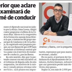 Ciudadanos se muestra satisfecho de que se retomen los exámenes teóricos de conducir en Calahorra