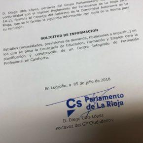 Ciudadanos insta a la consejería de Educación a informar sobre los planes previstos para el futuro Centro Integrado de FP en Calahorra